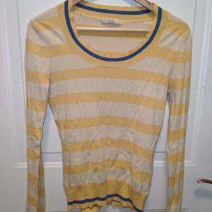 Merona XS Yellow & Blue Striped Scoopneck Sweater